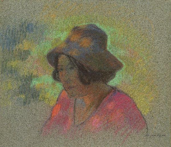1: MANZANA-PISSARRO Pastel Portrait of a young girl wit