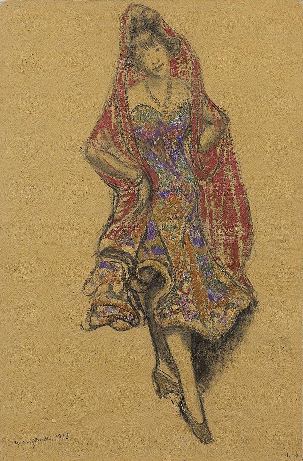 2: MANZANA-PISSARRO. Pastel. Woman with red scarf.