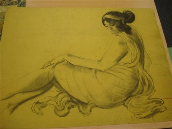 5: MANZANA-PISSARRO. Charcoal. Profile of reclining wom