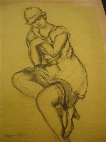6: MANZANA-PISSARRO. Charcoal. Elegant woman in hat.