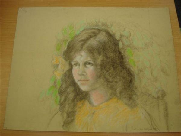 10: MANZANA-PISSARRO. Charcoal. Portrait of young girl.