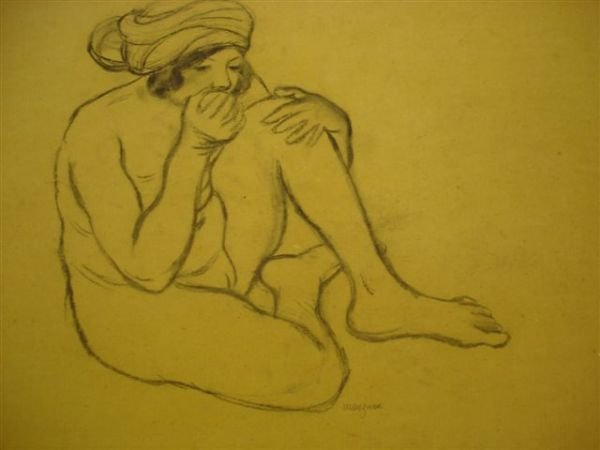 13: MANZANA-PISSARRO. Charcoal. Woman with apple.