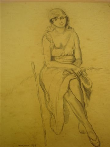 14: MANZANA-PISSARRO. Charcoal. Seated woman.