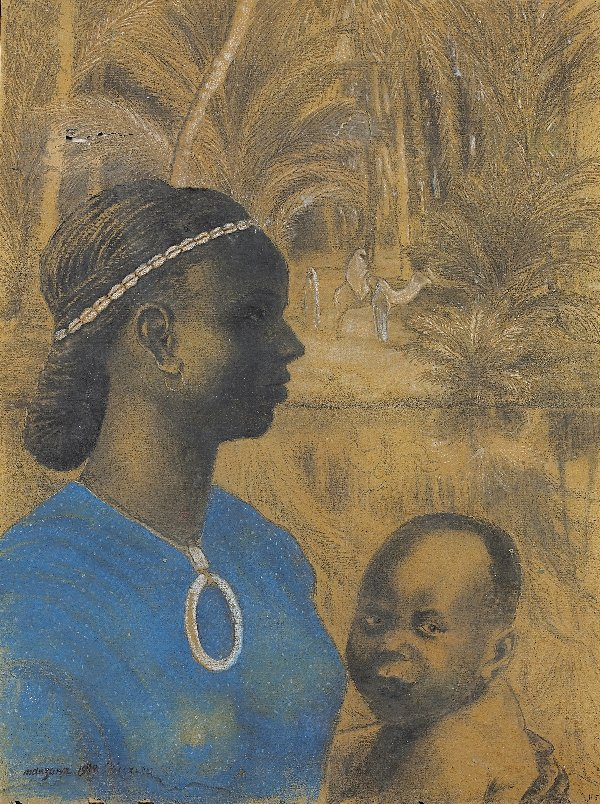 15: MANZANA-PISSARRO. Charcoal. African woman and child