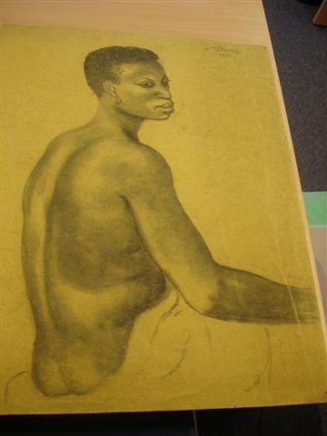 16: MANZANA-PISSARRO. Charcoal. Portrait of African wom