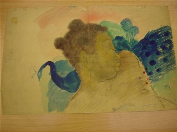 17: MANZANA-PISSARRO. Charcoal. Woman with Peacock.