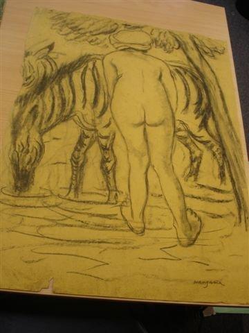 18: MANZANA-PISSARRO. Charcoal. Woman with zebra.