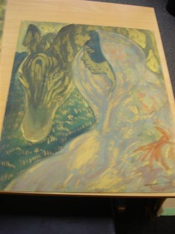19: MANZANA-PISSARRO. Watercolor. Woman with zebra.