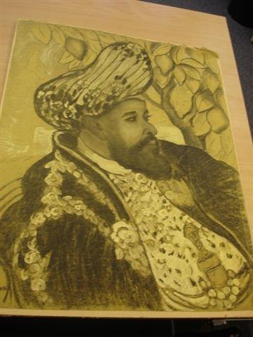 24: MANZANA-PISSARRO. Charcoal. Portrait of exotic woma