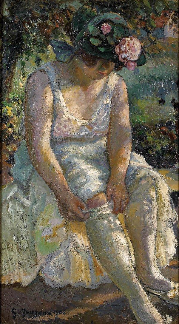 83: MANZANA-PISSARRO. Oil on canvas. Woman with stockin