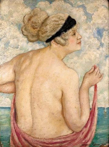 1084: MANZANA-PISSARRO. Oil on board. Veiled woman.