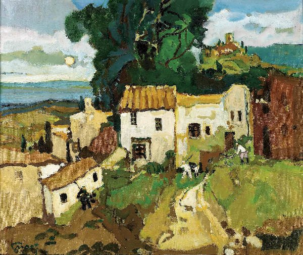 1117: Pierre GRISOT. At the farm. Oil on canvas.