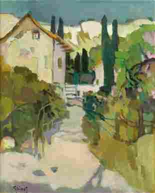 1142:Pierre GRISOT. Oil on canvas Rue de Tourette-sur-L