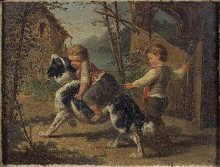 FRENCH SCHOOL 19th CENTURY. Children playing with