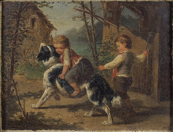 1196: FRENCH SCHOOL 19th CENTURY. Children playing with