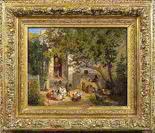 DEFAUX. PAIR of Oil on canvas. Farmyard scenes.