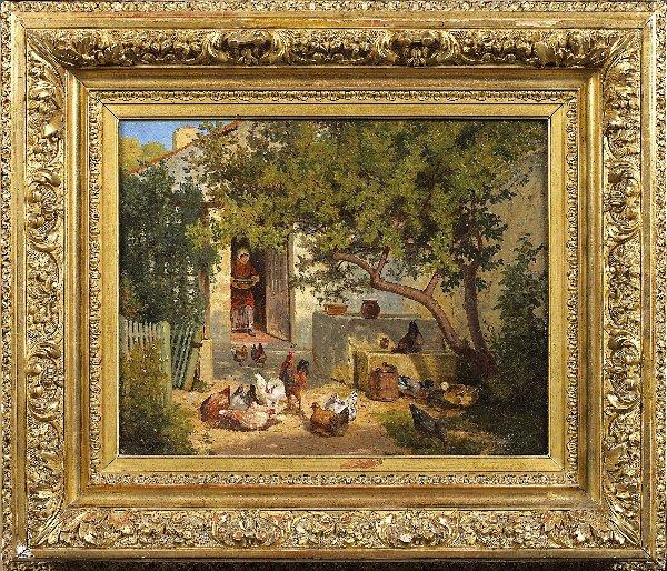 1198D: DEFAUX. PAIR of Oil on canvas. Farmyard scenes.