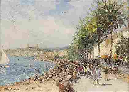 1207: Mario AMEGLIO View of Nice Oil on canvas