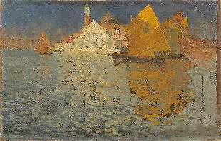 ABEL-TRUCHET View of Venice. Oil on canvas