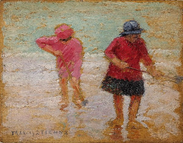 1217: ETIENNE The shrimp catchers. Oil on panel