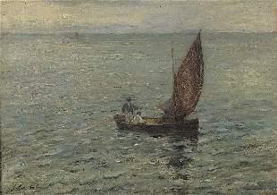 COLIN Ship in the open sea. Oil on canvas