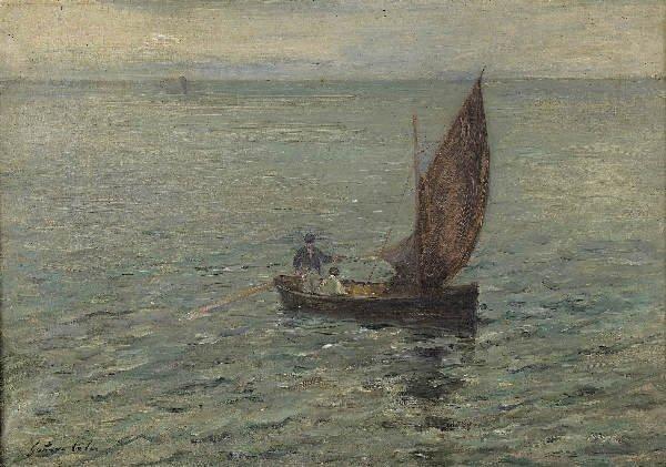 1219: COLIN Ship in the open sea. Oil on canvas
