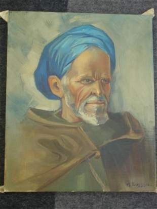 BUSSON Portrait of man with blue turban. Oil on c