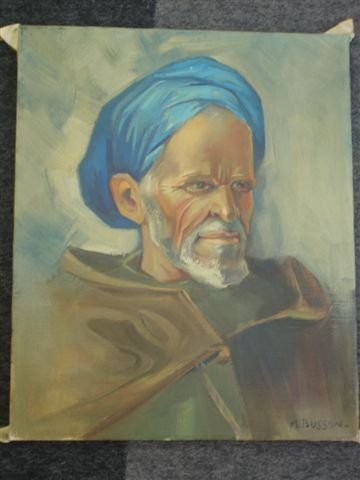 1233: BUSSON Portrait of man with blue turban. Oil on c