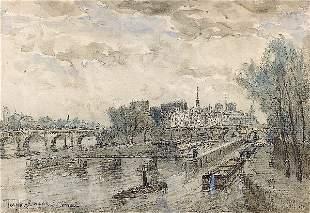 FRANK BOGGS The quays in Paris. Watercolor