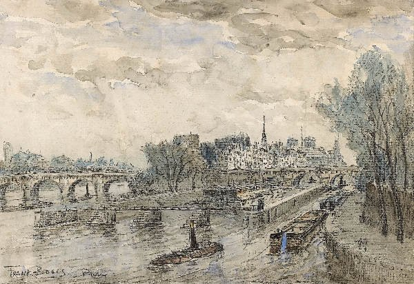 1241: FRANK BOGGS The quays in Paris. Watercolor