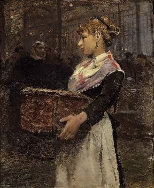 Victor GILBERT La marchande aux Halles. Oil on pa