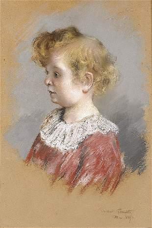 GOENUTTE Portrait of a child. Pastel on canvas
