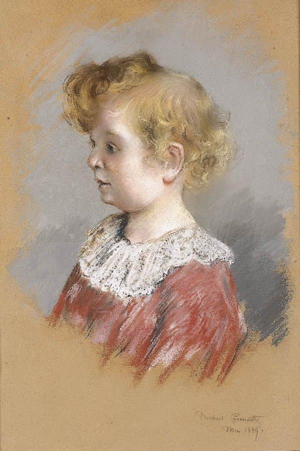 1244: GOENUTTE Portrait of a child. Pastel on canvas