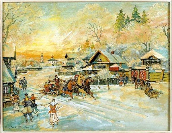 4: KOROVINE Russian School La fête au village  Oil on b