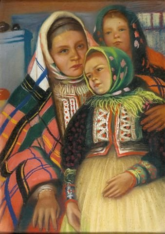 13: Russian School 20th century. Pastel. Young girls.