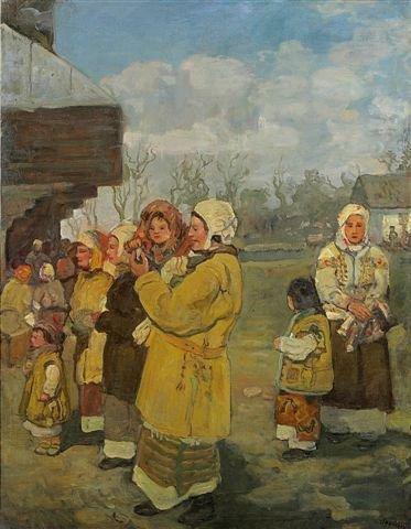 14: Marian STRONSKY Market in the Ukrain Oil on canvas
