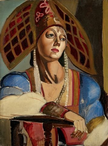 "19: ""Tamara de LEMPICKA Oil on canvas Portrait of a Rus"