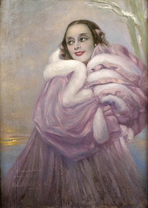 20: École russe (1910-1920)  La Pavlova  Oil on carton,