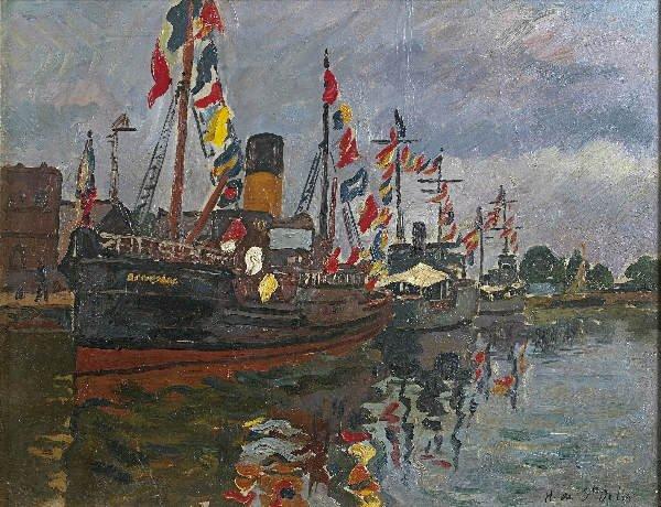 176: Henri de SAINT-DELIS  Boats on the 14th of July. O