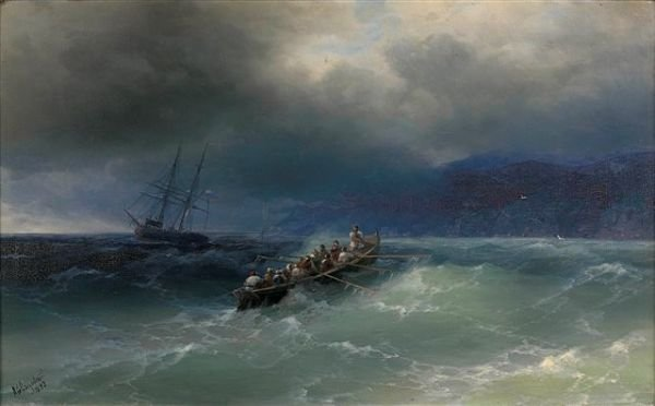 19A: AIVAZOVSKY Russian Storm Signed Landscape Painting
