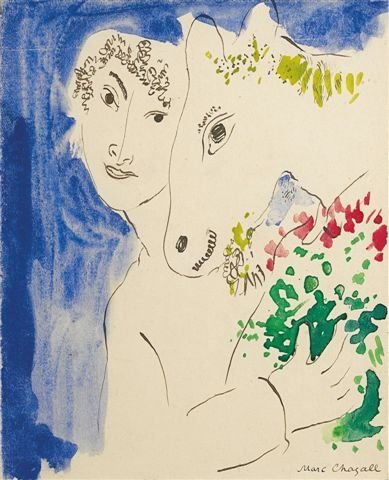 22C: Marc CHAGALL Boy with a poney, Watercolor and ink
