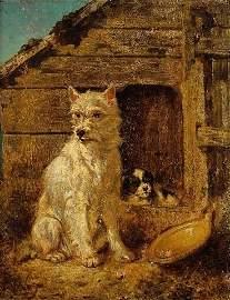 233: Vincent de VOS, Belgian, Two dogs, Oil on panel