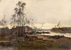 237: GALIEN-LALOUE, Riverbanks, Pair of Oil on Canvas