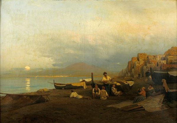 22: Albert FLAMM (German 1823-1906), The fishermen in