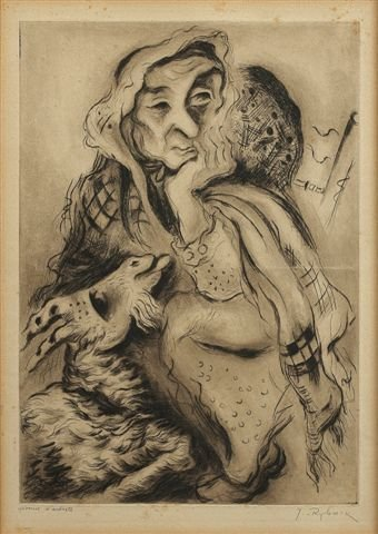 3: RYBACK (1897-1935), Russian. Woman with a Goat. Arti