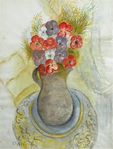 5: RYBACK (1897-1935), Russian.Bouquet of Mauve and Red