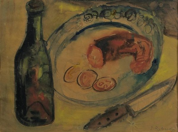 6: RYBACK (1897-1935), Russian. Still Life with Bottle.