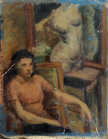 9: RYBACK (1897-1935), Russian, Young Boy. Oil on canva