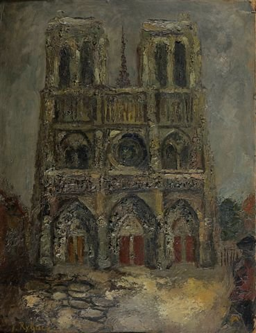 10: RYBACK(1897-1935), Russian. Notre-Dame. Oil on card