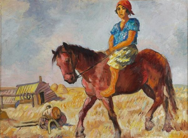16: RYBACK (1897-1935), Russian. The rider. Oil on card